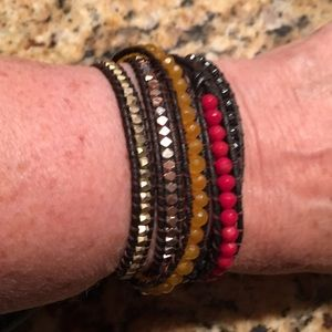Jewelry - Beautiful Nakamol  beaded &leather wrap bracelet